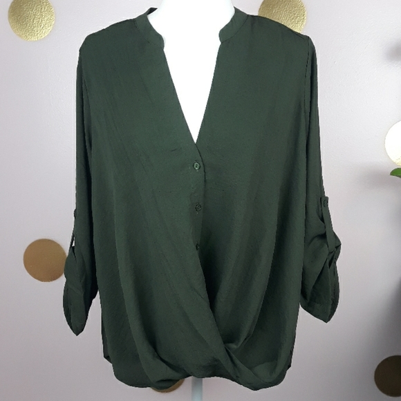 Tops - 🆕️New Boutique W/ Tags Green/Army Dressy Blouse